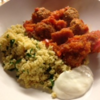 Spicy Moroccan meatballs with butternut squash and tomato sauce, lemon couscous