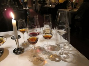 Glasses for each course at U Zlate Studne, Prague