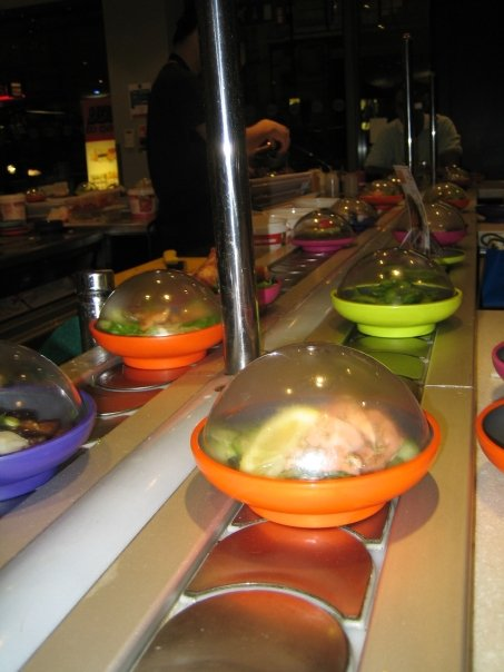 sushi conveyor at Yo! Sushi