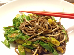 spicy soba with cold vegetables