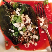 Chorizo stuffed poblanos with chipotle salsa